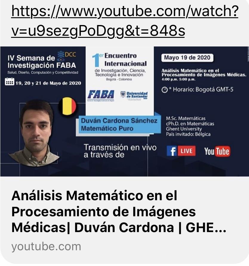 Image Processing and Mathematical Analysis (Duvan Cardona in Spanish)