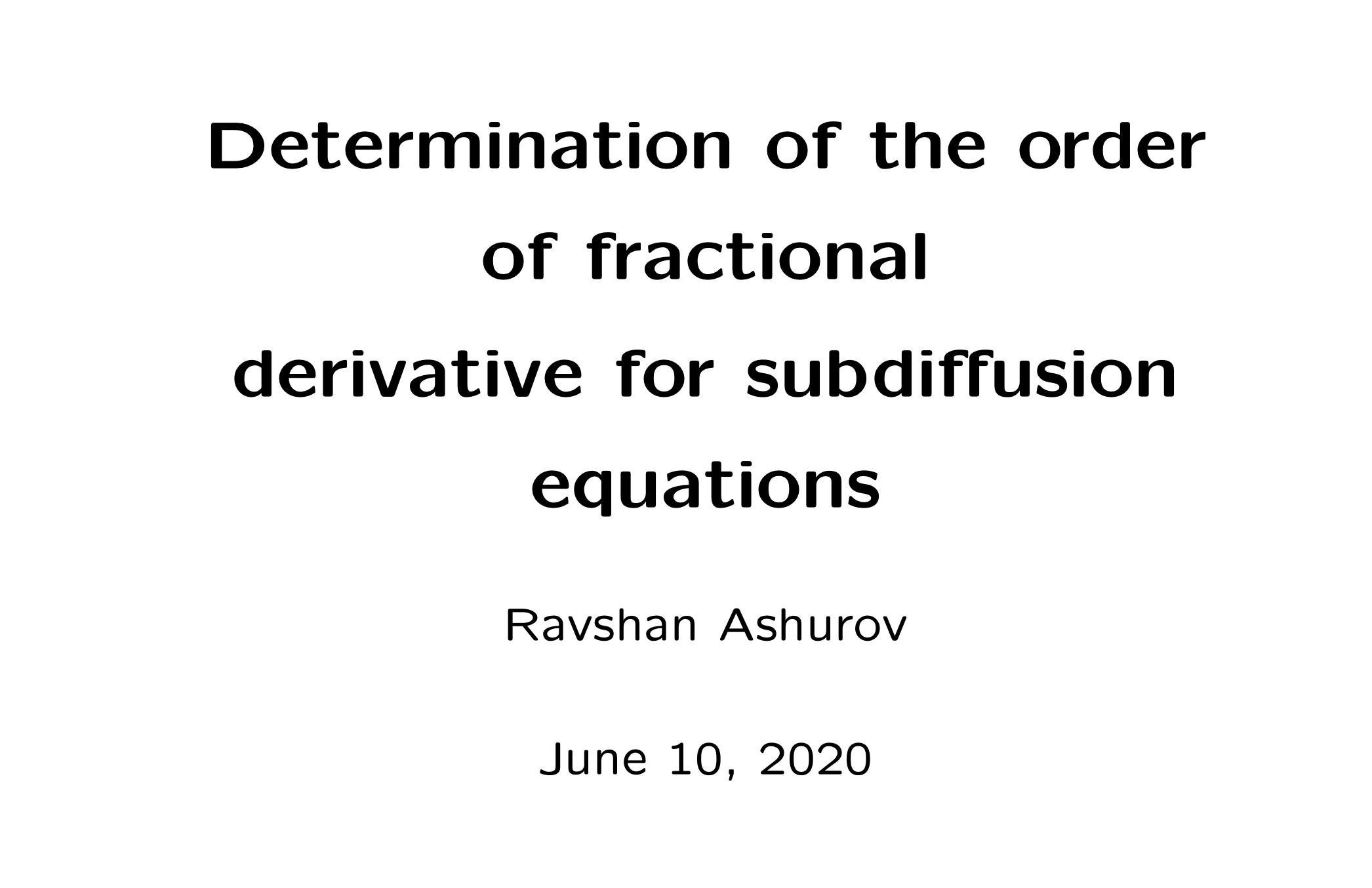Ashurov Inverse problem