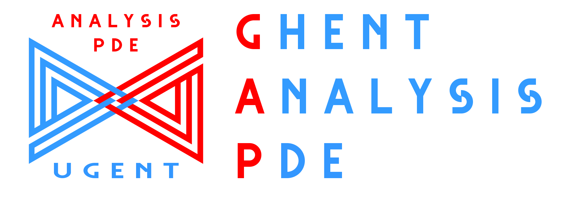 The logos of Ghent Analysis and PDE Center