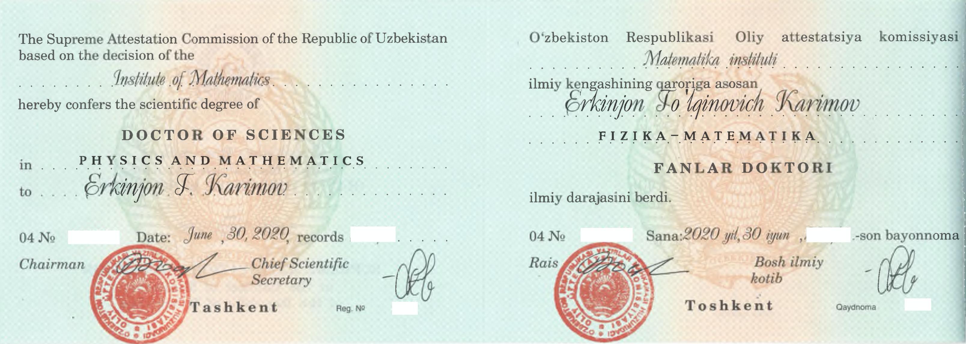 Doctor of Science: Erkinjon Karimov