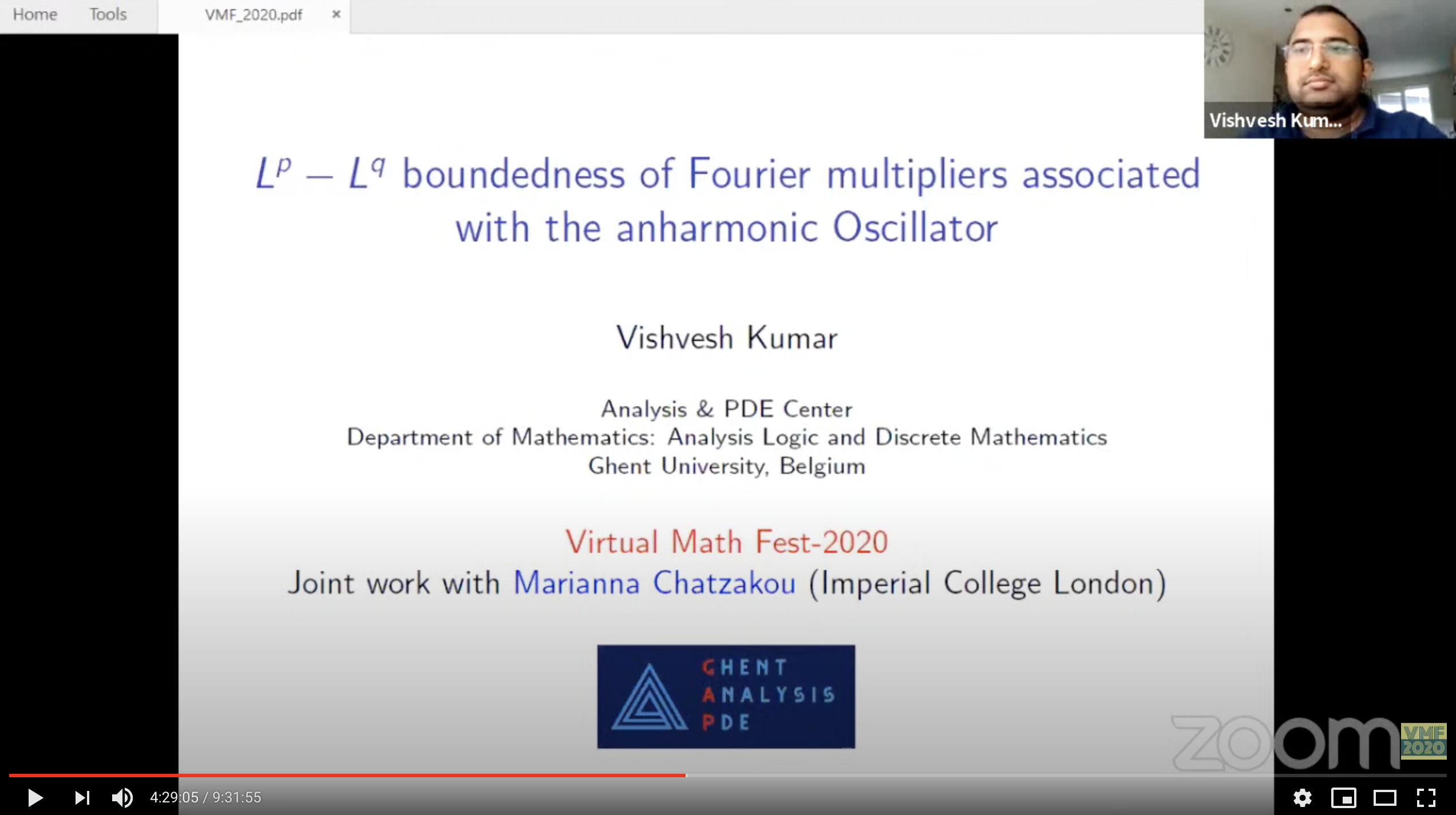 Vishvesh Kumar at Virtual Math Fest